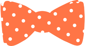 Orange bow tie with white polka dots