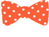 "Orange bowtie with white polka dots and ""Bioethics"" lettering"