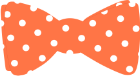 Orange bowtie with white polka dots